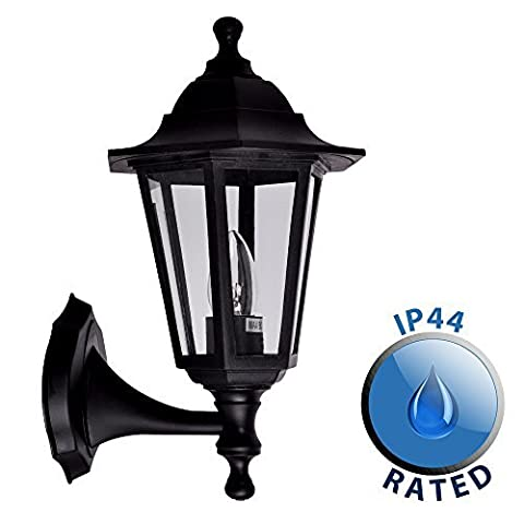 Traditional Style Black Outdoor Security IP44 Rated Wall Light