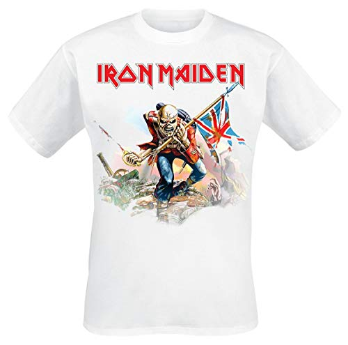 Iron Maiden Trooper On White Camiseta Blanco M
