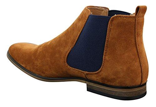 Bottines Chelsea homme simili daim sans lacets design italien style mi-chevilles chic décontracté Marron Clair