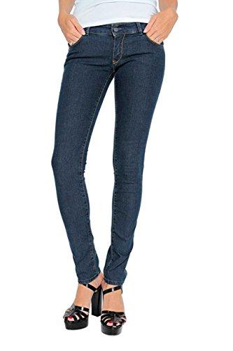 Dark Denim Flare Jeans (Anna David Damen Jeans Hose Skinny Slim Leg, Elegante Röhrenjeans Glam, Farbe: Dunkelblau, Größe: 29/34)