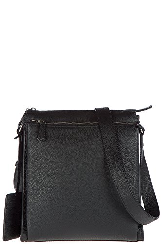 Fendi-mens-leather-cross-body-messenger-shoulder-bag-black