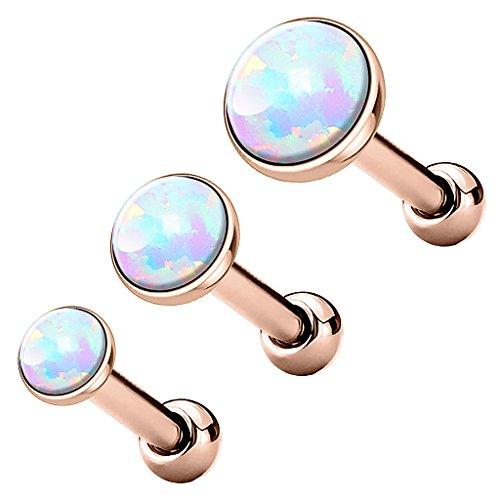 Piercingfaktor Tragus Piercing Helixpiercing Helix Ohr Cartilage Knorpel Stecker mit flachen Opal Steinen Rund Rosegold Weiß Set