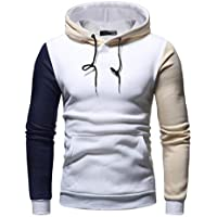 Yvelands Casual Outwear Men's Handsome Personality Color de Moda Costura Bolsillo con Capucha de Manga Larga Warm Slim Fit Sudadera Camiseta Camisas Blusa Top Otoño Invierno