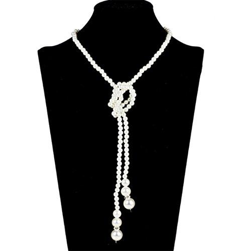 yinew weiß künstliche Perlen lange Pullover Kette Perlen -