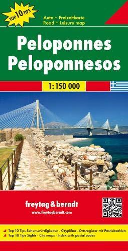 Peloponeso, mapa carreteras. Escala 1:150.000. Freytag