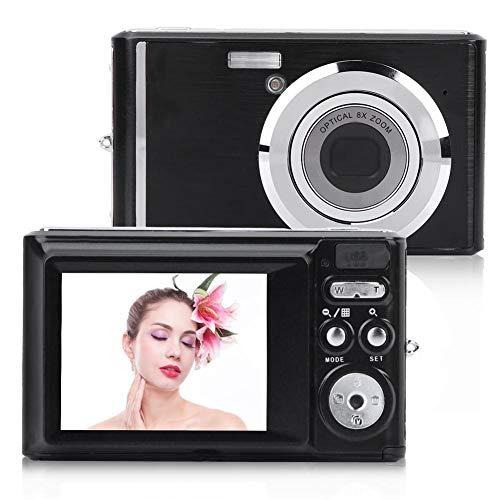 Topiky Cámara Digital de Alta definición con Pantalla de 2,4 Pulgadas, Zoom óptico de 8X, Video de 720P, Imagen de 20 MP, Flash Incorporado con batería Recargable(Negro)