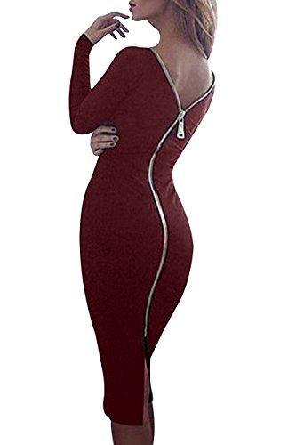 YMING Damen Stretchkleid Reißverschluss Hinten Langarm Rund Ausschnitt Knielang Rückenfreies Partykleid,Burgundy,M/DE 38-40 (Sexy Kleid Reißverschluss)