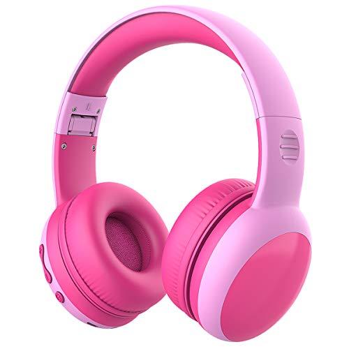 Casque Bluetooth Enfant Limitation de Volume á 85dB, Ecouteurs sans Fil avec Microphone pour Enfants, Casque et Ecouteurs Bluetooth sans Fil, Oreillette stéréo Bluetooth Pliable pour Enfants-Rose