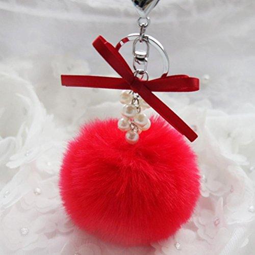Xinan Kaninchenfell Ball Schlüsselanhänger Tasche Plüsch Auto Auto Schlüsselanhänger (Rot) (Blau-kleidung Union)