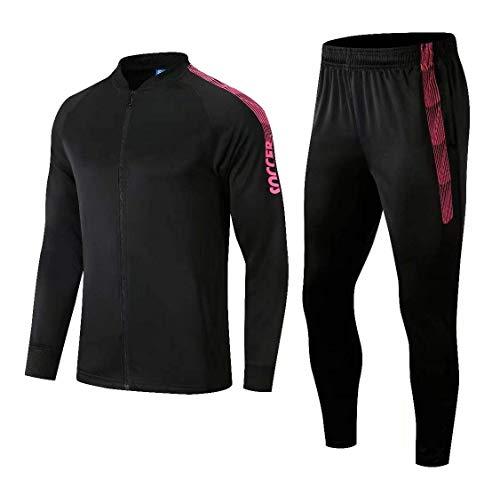 VLIG Schwarzer Trainingsanzug Für Herren Mit Langen Ärmeln Und Fußballuniform 2XL