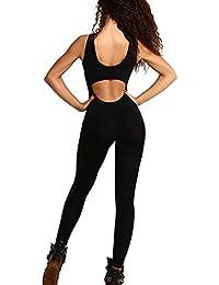 Juleya Bodysuit Sexy Gymnastikanzug Jumpsuit - Damen ärmellos V-Ausschnitt Rückenfrei Sport Jumpsuit Overall Yoga Suit Fitness Leotard Trainingsanzug