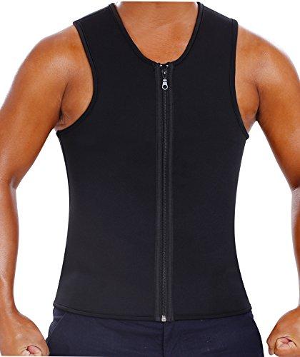Gotoly Herren Sauna Sweat Anzüge Tank Top Reißverschluss Slim Neopren Shirt (3XL Für 110-115 CM Taille, Schwarz) (Nylon Slim Shaper)