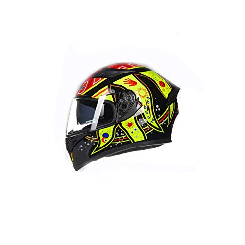 ZPYHJS motorradhelm shoei,Motorcycle Helmet, Men and Women Personality Four Seasons Motorcycle Safety Helmet, Double disc Full Helmet, flip-up Helmet Racing Helmet@F_XL