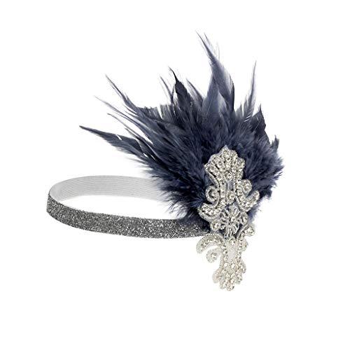 LLonGao Headpiece Feather Flapper Stirnband Große Gatsby Kopfschmuck Vintage Prom Federn Karneval Haarband Charmant Elegant Stirnband