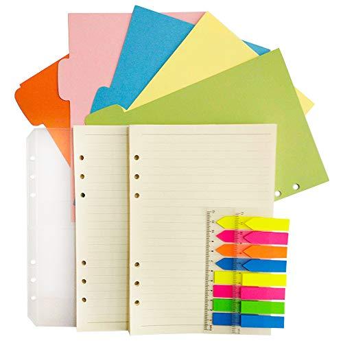 liniertes Papier 6-Loch/5 farbige Ordnerregister Register, Subjekt-Trennblätter/Ordnertaschen / 320 Stück Notiz-Labellen mit Lineal für Filofax, liniertes Papier ()