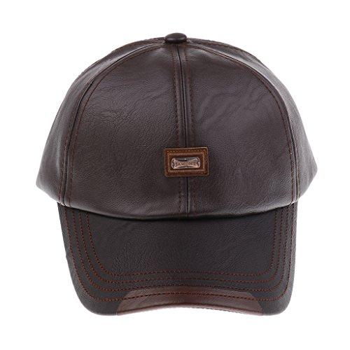 Sharplace Leder Basecap Baseballkappe Baseballcap Lederkappe Golf Cap für Damen Herren - Stil...