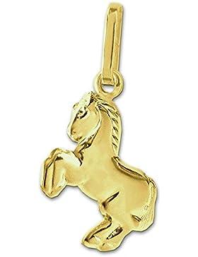 CLEVER SCHMUCK Goldener Anhänger Kleines Pferd springend, beidseitig plastisch glänzend 333 GOLD 8 KARAT