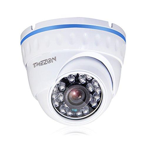 TMEZON 1/3'' 1000TVL 960H 24 IR-LEDs 3.6mm Objektiv Hohe Auflösung Errichten-IR-Schnitt Farbe Tagesnachtsicht 65ft Metall Draussen/Innen Wetter Sicherheits-Überwachung Dome Weiß CCTV-Kamera