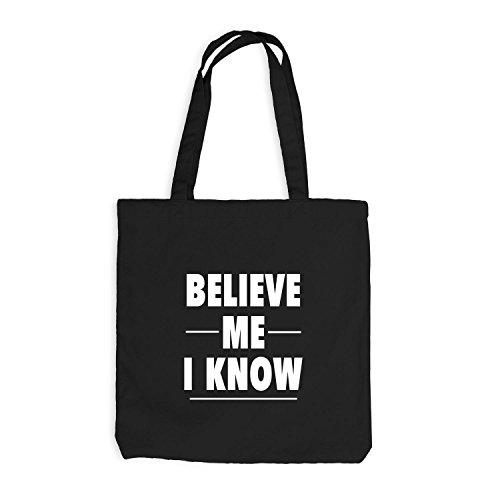 Jutebeutel - Believe Me - I Know Schwarz