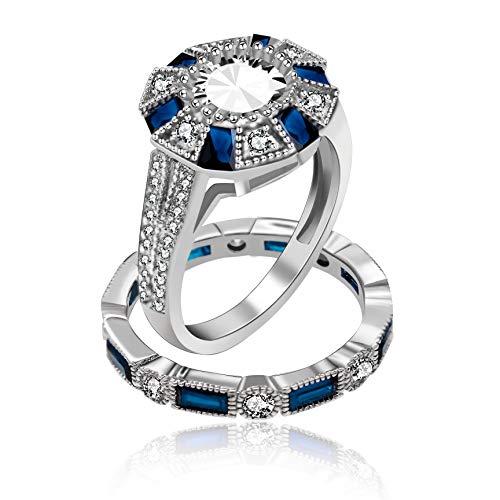 n beschichtet Hochzeit Ringe Set, 2 Stück Marineblau erstellt Sapphire Birthstone passende Ringe Set, Labor Diamant Promise Ringe für ihre RJ497 ()