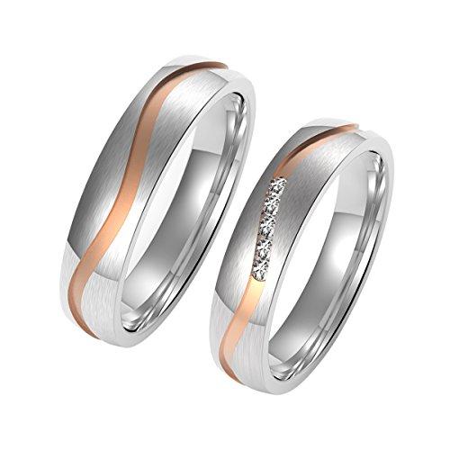 Amtier Edelstahl Ehering Paar Ring Rose Gold mit Geschenkbox für Damen, 074, Größe 60 (19.1)