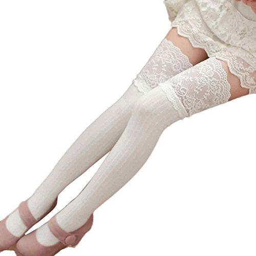 kingko® Frauen-Mädchen-Winter über Knie-Bein-Wärmer-weichem Baumwollmischungs-Spitze-Dekor Legging Socken (Weiß) (Knie-bein-wärmer Über)