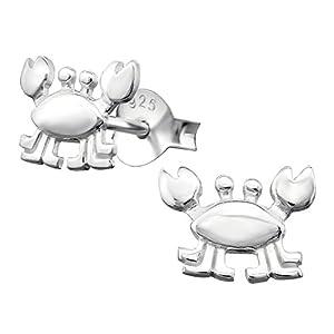 Laimons Mädchen Kids Kinder-Ohrstecker Ohrringe Kinderschmuck Krebs Gliederfüßer Meeresbewohner in glanz aus Sterling Silber 925