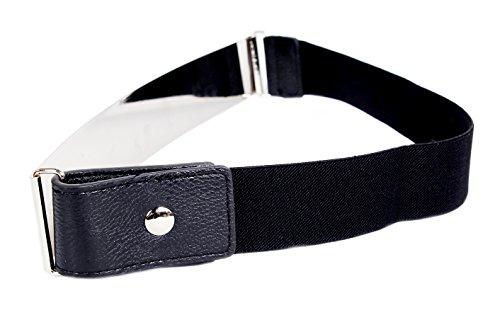 Frauengürtel, Gold Metall oder Silber Metall Platten mit Stretch-elastischen Band, eine Größe 30 x 5 cm Silber Schwarz (Taille Flache Hose)