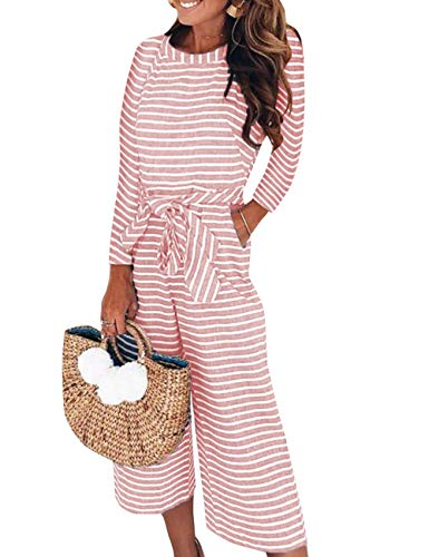 mellos Jumpsuit Striped Waist Breites Bein Overalls mit Gürtel Sommer Casual Hohe Taille Rompers M Rosa ()