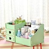 YESMAEay Holz Kosmetische Aufbewahrungsbox Kosmetiktasche Organizer DIY Kleine Objets Aufbewahrungsbox für Zuhause Schlafzimmer Badezimmer Wohnzimmer Grün