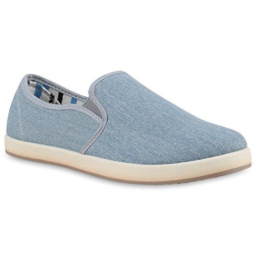 Sportliche Herren Slipper Slip-ons Sneakers Stoffschuhe Freizeit Hellblau Weiss
