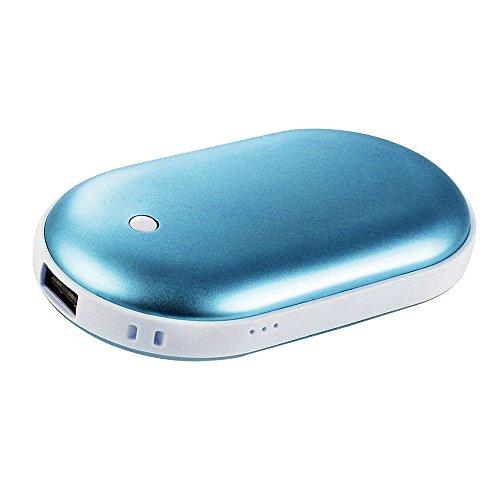 Handwärmer USB wiederaufladbar, Centtechi doppelseitige wiederverwendbare Batterie tragbare Handheizung und 5200mAh Power Bank Ladegerät für iPhone / Samsung Galaxy / HTC / SONY und andere (blau)