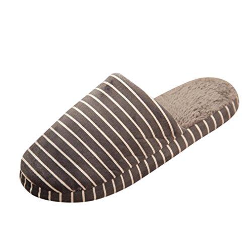 Fulltime® Femmes Hommes Rayées Pantoufles Intérieures Anti-Dérapantes Chaussures Chaudes DHiver Douces Gris