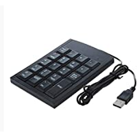 Sunny Clover 1 Pcs Numeric Keypad USB Wired Connection 19 Keys Number Pad For Laptop PC Computer Accounting Keyboard(Black)