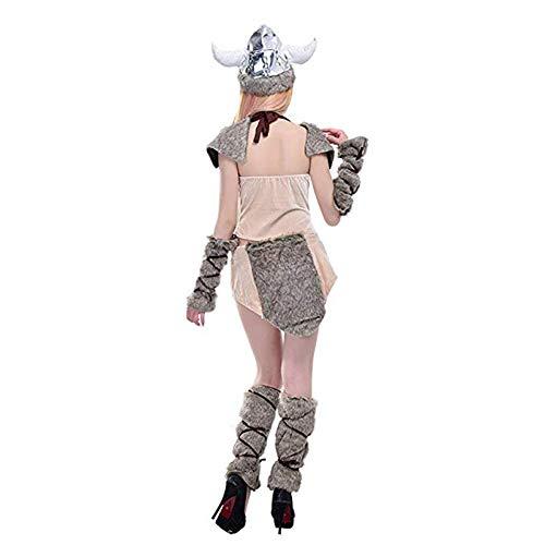 Extreme Versuchung Womens Cosplay Kostüm Adult Lady Halloween Wikinger Uniform Cosplay Cow Dämon Show Kostüm,Beige,OneSize (Lady Wikinger Kostüm)