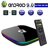 DeWEISN Android 9.0 TV Box, Q Plus Smart Box 4GB RAM 32GB ROM H6 Quad-Core cortex-A53 Mali T720 GPU Reproductor Multimedia 2.4GHz WiFi 6K H.265 100M Enternet con USB 3.0 Caja de Televisor (4+32G)