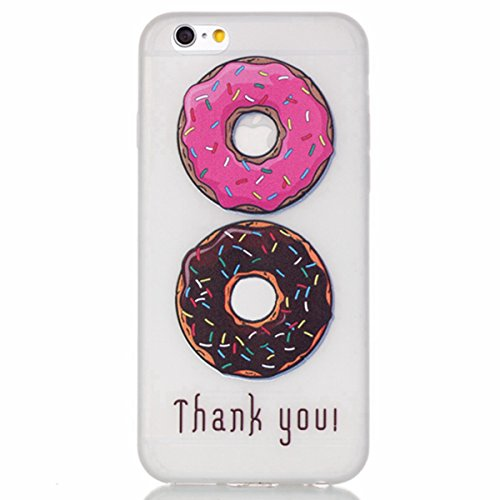 iPhone 6 Plus Silicone Case,iPhone 6S Plus Coque- Felfy Ultra Slim Transparent Soft Gel Silicone Noctilucent Case Cover Etui de Protection Cas en Caoutchouc en Cristal Clair Gel TPU Bumper Cas Case Co Beignets savoureux