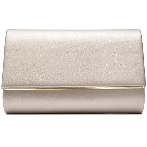 Vain Secrets Damen Umhänge Tasche Clutch Abendtasche vielen Farben (22,5 cm Lang - 14 cm Hoch - 6 cm Breit, Gold PU) -