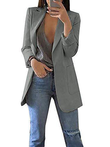 Minetom Damen Elegant Langarm Blazer Sakko Einfarbig Slim Fit Revers Geschäft Büro Jacke Kurz Mantel Anzüge Bolero mit Tasche A Grau DE 38