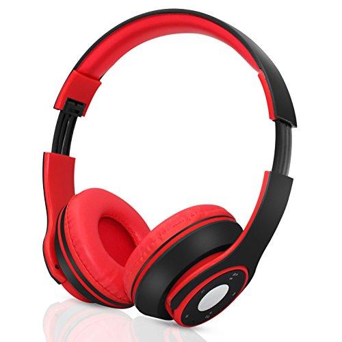 Hi-Fi Stereo Wireless Bluetooth Kopfhörer, Faltbar über Ohr Headset mit Mikrofon für Telefone / Tablet / Audio (Black) (Stecker Für Skullcandy Kopfhörer)