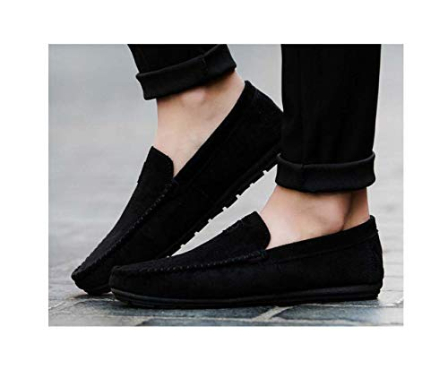 Summer Style Men Shoes Young Cool Men's Casual and Comfortable Driving Bean Solid Mens Shoes Zapatos Hombre Plus Size 39~44 Black 7