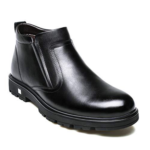 XI-GUA Herren Schneestiefel Pelz Interieur warme Herren Winter Leder weiche beiläufige Reißverschluss Rutschfeste Stiefel