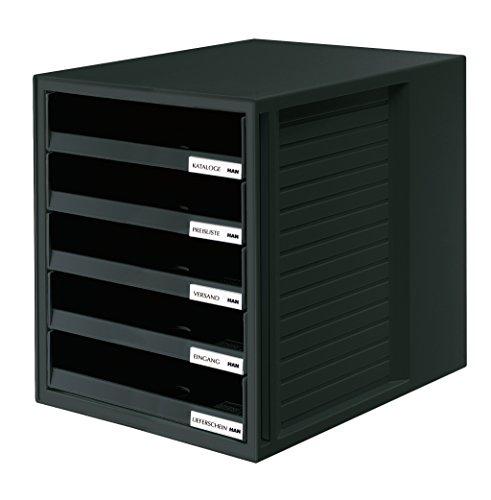 Han - Cajonera de oficina (5 compartimentos abiertos, con etiquetas, tamaño C4, 275 x 320 x 330 mm), color gris claro y azul