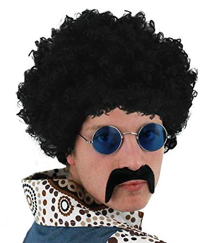 Disco 1970's Kostüm - ILOVEFANCYDRESS Herren 70s Jahre Set Schwarz Afro Perücke + Schwarz Schnurrbart + Runde Brille Kostüm Zubehör Kostüm Schnell Satz 1970's Jahre Retro Disco