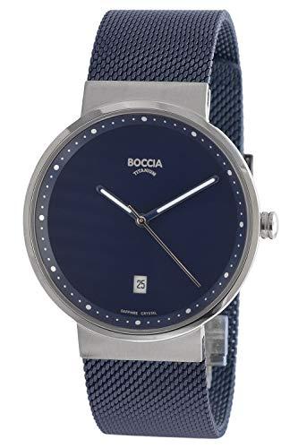 Boccia Herren Analog Quarz Uhr mit Edelstahl Armband 3615-05