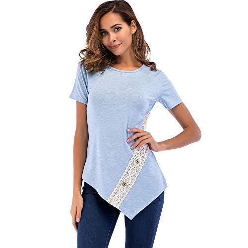 Lässige Rugby-shirts (Linkay T Shirt Damen Kurz Spitze-Taste Bluse Tops Lässig Locker Oberteile Mode 2019 (Blau, Medium))