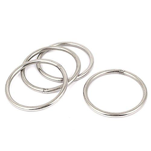 Preisvergleich Produktbild 4Stk.80mm x 70mm x 6mm 201 Edelstahl geschweißt runde Ringe Rundringe Stahl