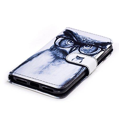 Housse de téléphone pour [iPhone 6/6S] Cover,Etsue - Coque Folio Smart Portefeuille en Cuir Case Coque Etui pour iPhone 6/6S,Élégant/Blle/ Coloré Mode Motif PU Leather Coque Stéréoscopique Fonction St Hibou