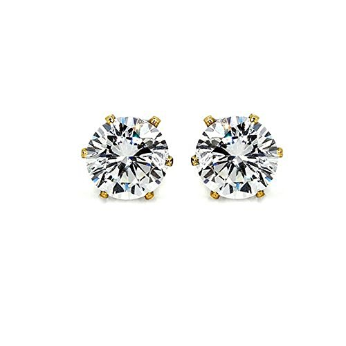 Archi Collection Gold Plated Cz Solataire Stud Earing For Women