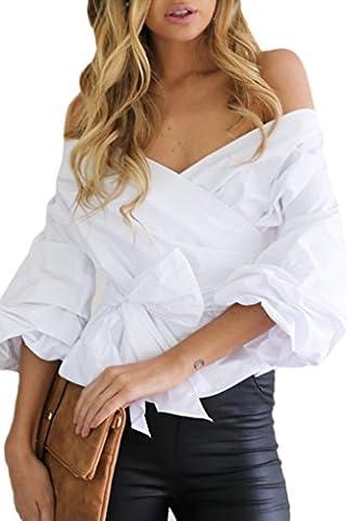 Bigood Chemise Epaule Nue Femme Coton T-shirt Col V Chemisier Blouse Top Chic Soirée Casual Eté Blanc Bust
